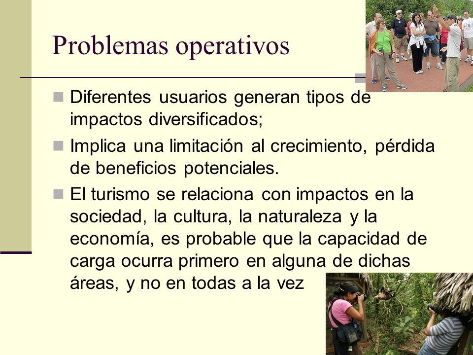 Problemas operativos Diferentes usuarios generan tipos de impactos diversificados;