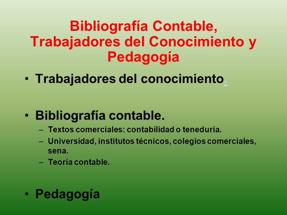 Bibliografía Contable, Trabajadores del Conocimiento y Pedagogía