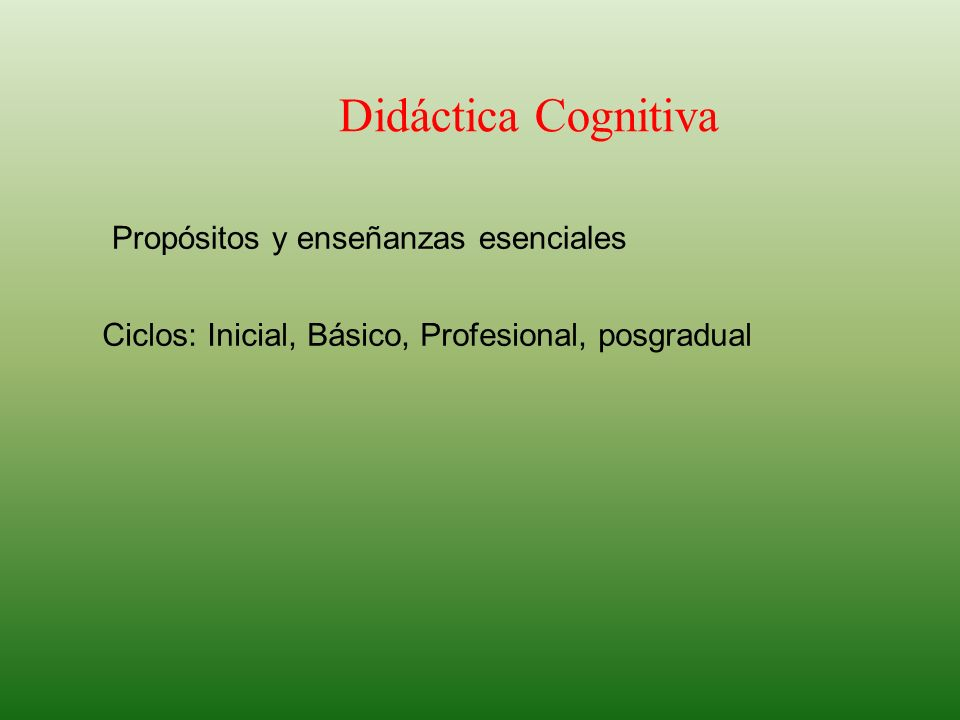 Didáctica Cognitiva Propósitos y enseñanzas esenciales