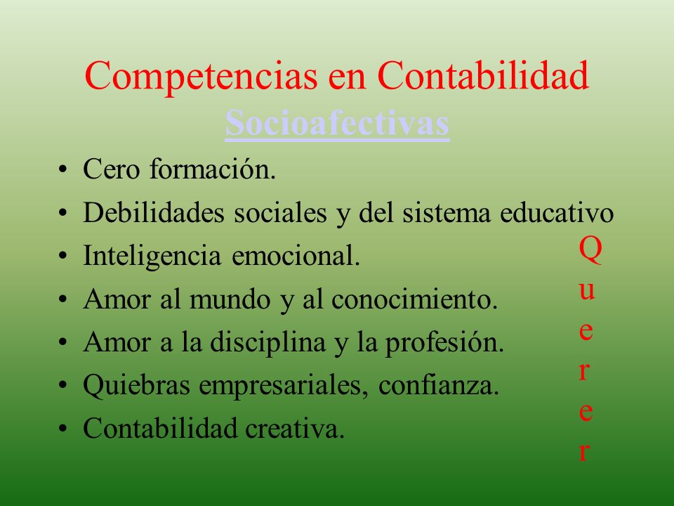 Competencias en Contabilidad Socioafectivas
