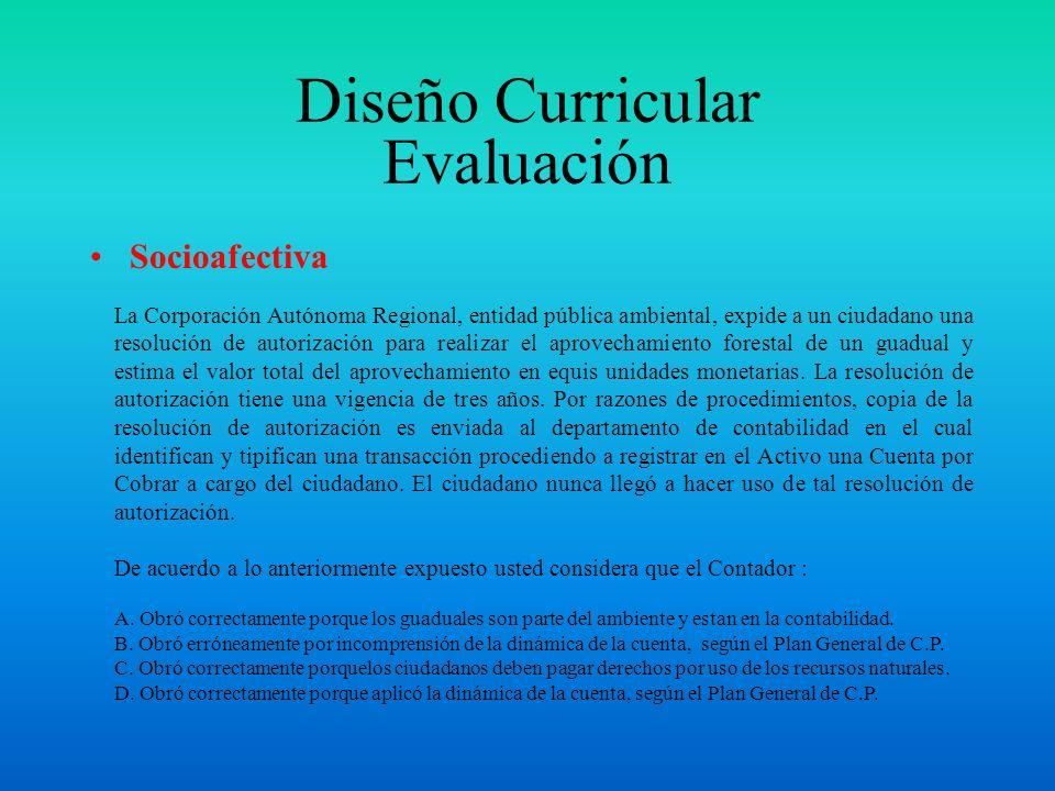 Diseño Curricular Evaluación