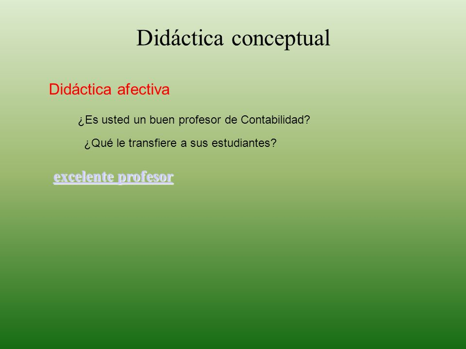 Didáctica conceptual Didáctica afectiva excelente profesor