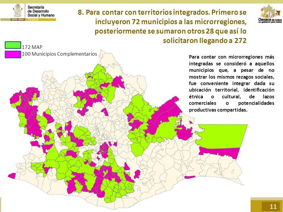 8. Para contar con territorios integrados