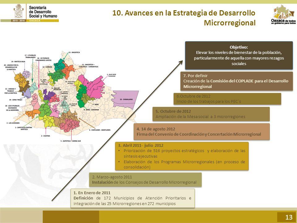 10. Avances en la Estrategia de Desarrollo Microrregional