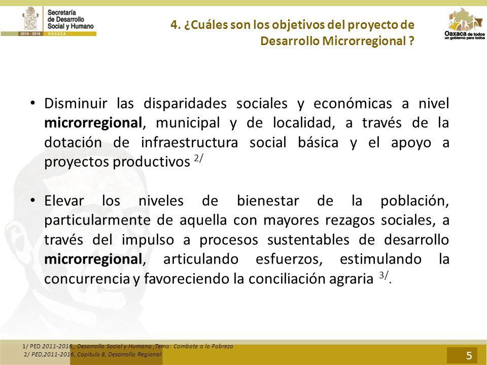 4. ¿Cuáles son los objetivos del proyecto de Desarrollo Microrregional