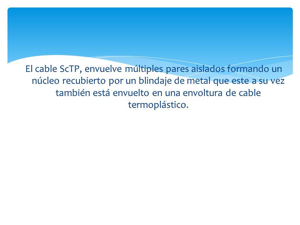El cable ScTP, envuelve múltiples pares aislados formando un núcleo recubierto por un blindaje de metal que este a su vez también está envuelto en una envoltura de cable termoplástico.