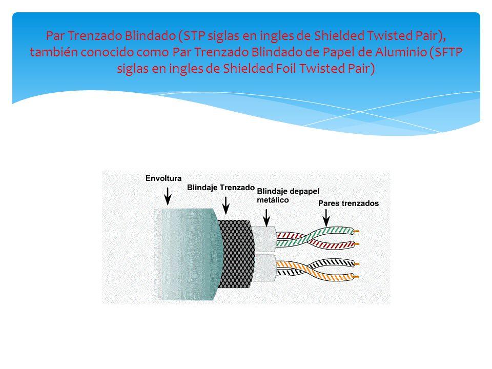 Par Trenzado Blindado (STP siglas en ingles de Shielded Twisted Pair), también conocido como Par Trenzado Blindado de Papel de Aluminio (SFTP siglas en ingles de Shielded Foil Twisted Pair)