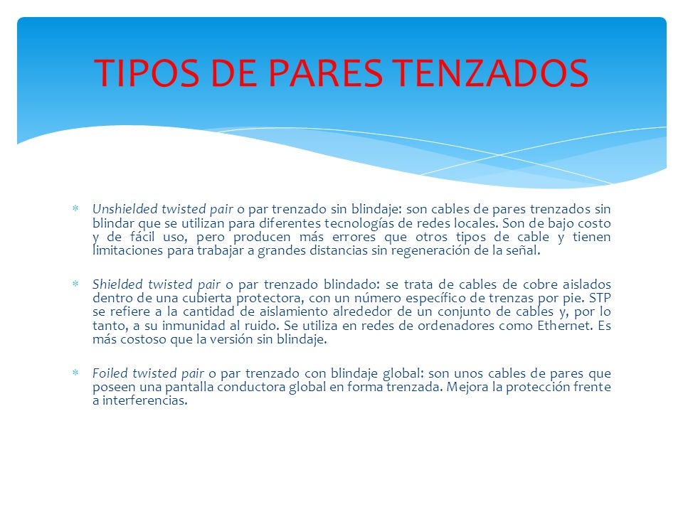 TIPOS DE PARES TENZADOS