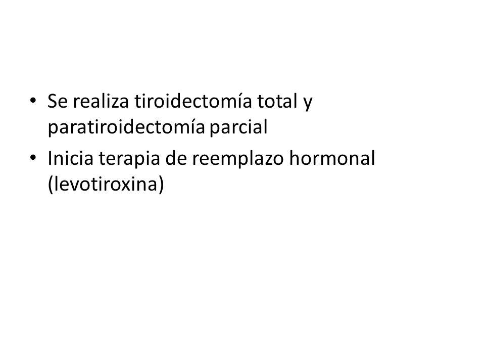 Se realiza tiroidectomía total y paratiroidectomía parcial
