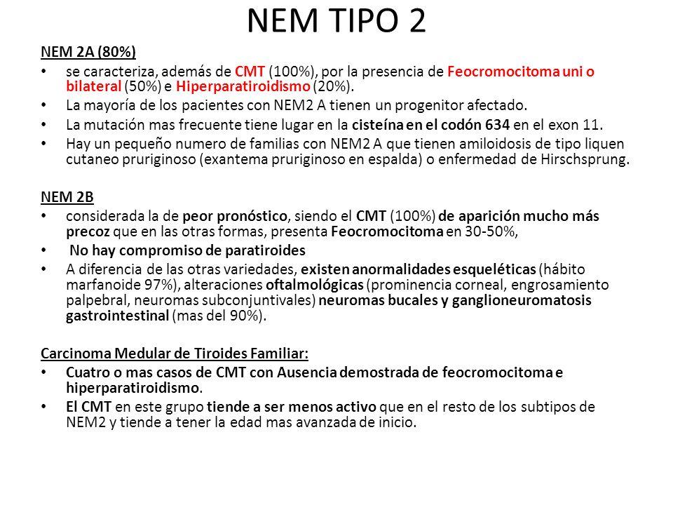 NEM TIPO 2 NEM 2A (80%) se caracteriza, además de CMT (100%), por la presencia de Feocromocitoma uni o bilateral (50%) e Hiperparatiroidismo (20%).