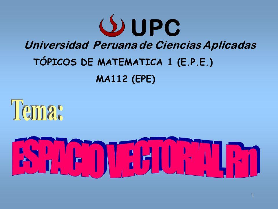 UPC Tema: ESPACIO VECTORIAL Rn
