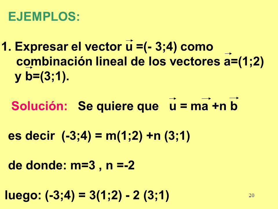 EJEMPLOS: 1. Expresar el vector u =(- 3;4) como combinación lineal de los vectores a=(1;2) y b=(3;1).