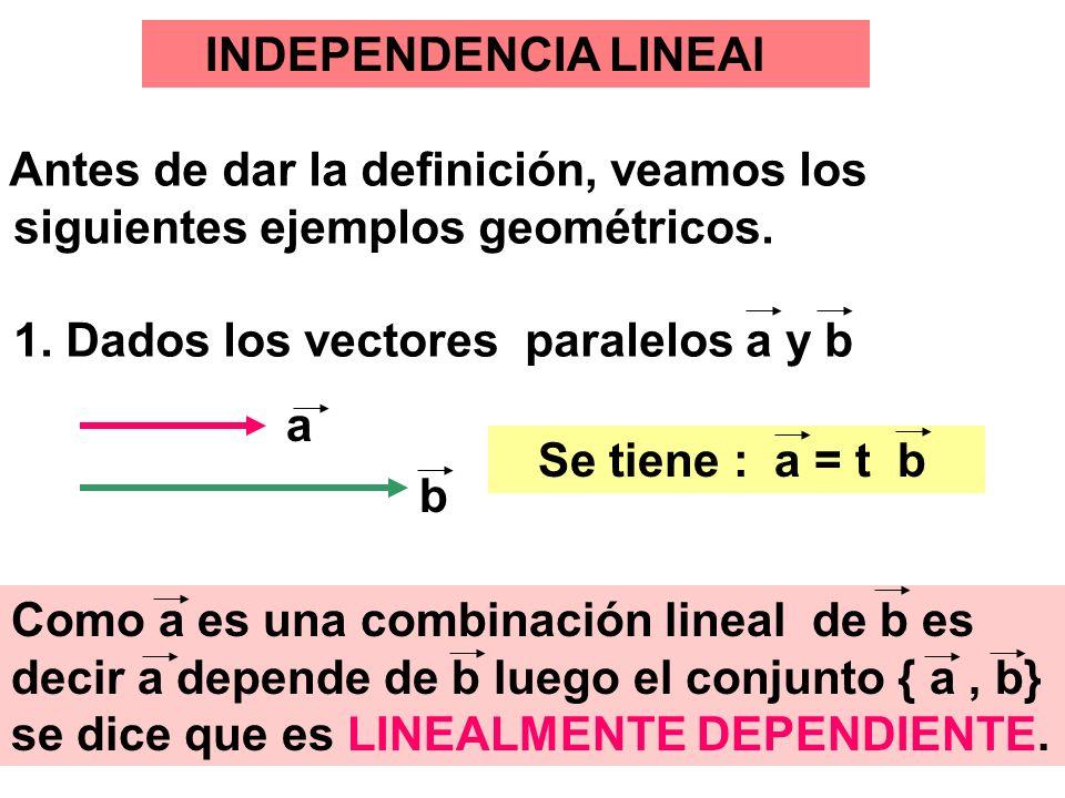 siguientes ejemplos geométricos. 1. Dados los vectores paralelos a y b