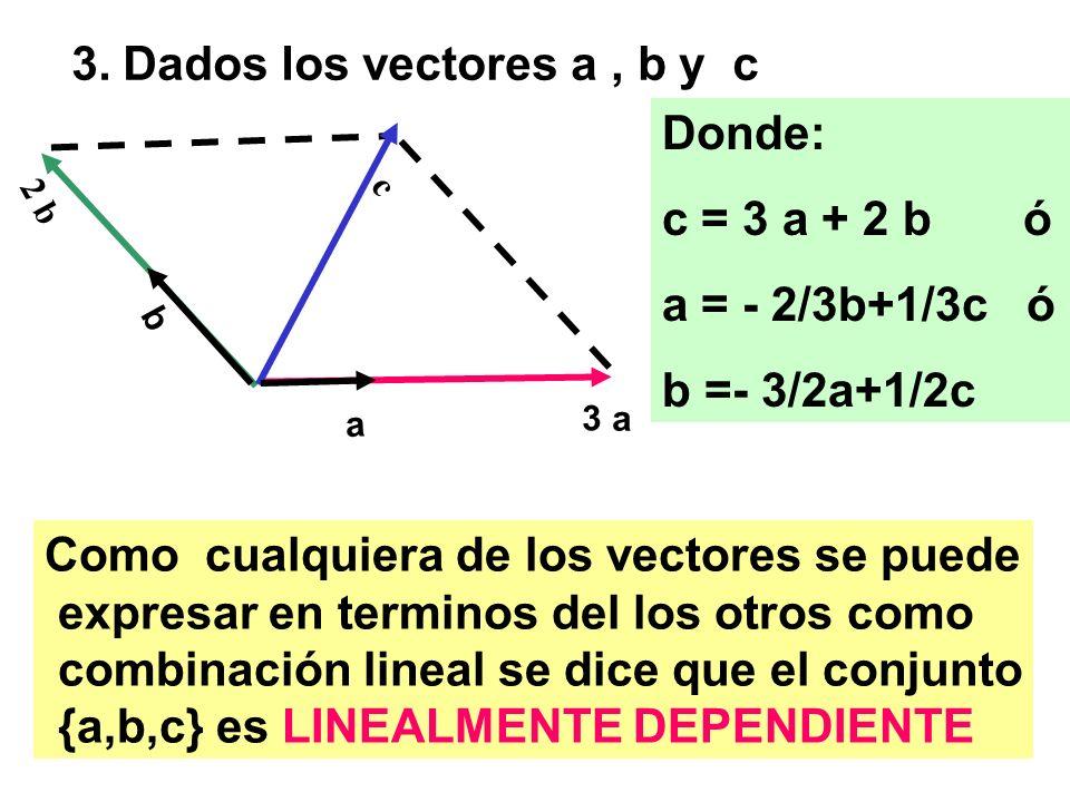 3. Dados los vectores a , b y c Donde: c = 3 a + 2 b ó