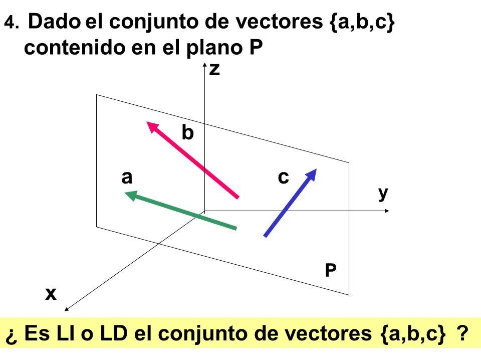 ¿ Es LI o LD el conjunto de vectores {a,b,c}