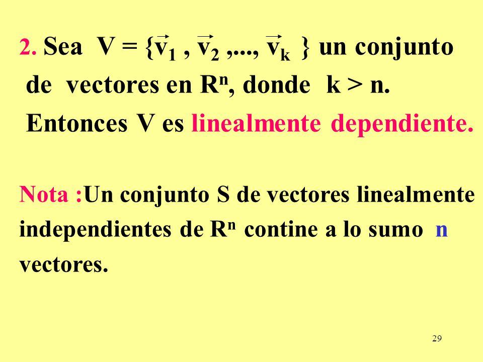 de vectores en Rn, donde k > n.