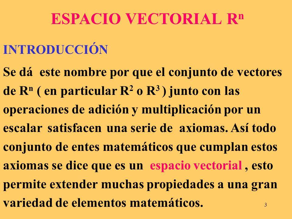 ESPACIO VECTORIAL Rn INTRODUCCIÓN.