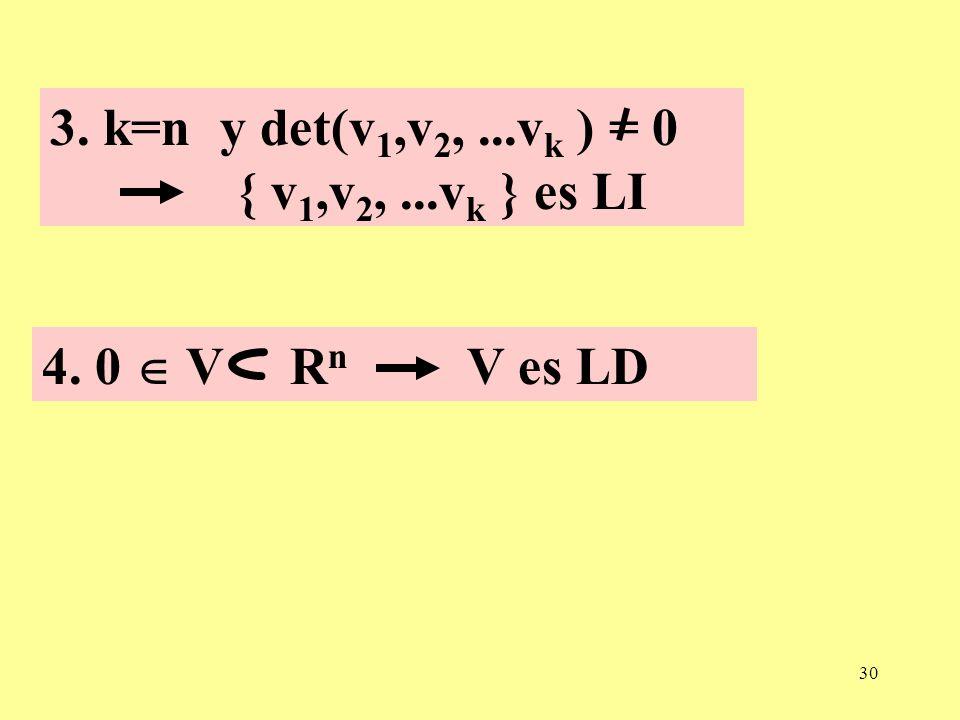 3. k=n y det(v1,v2, ...vk ) = 0 { v1,v2, ...vk } es LI 4. 0  V Rn V es LD