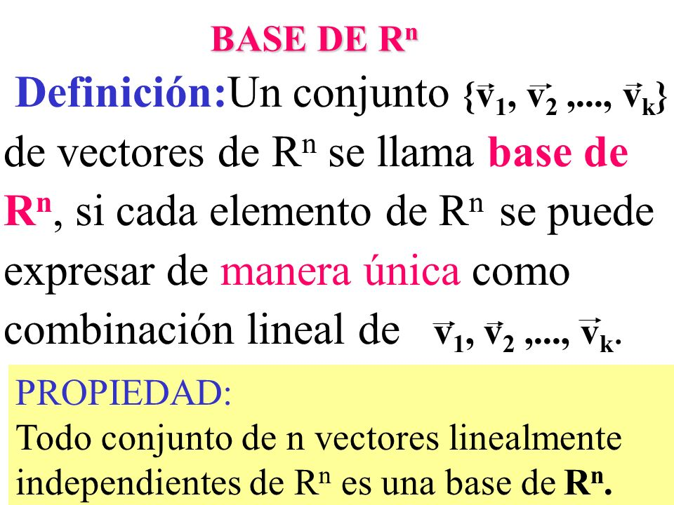 Definición:Un conjunto {v1, v2 ,..., vk}