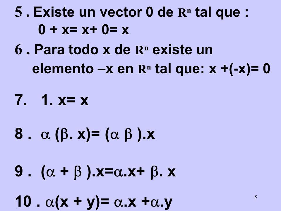 5 . Existe un vector 0 de Rn tal que :