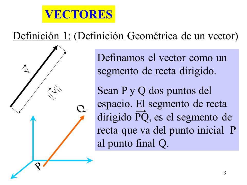 VECTORES Definición 1: (Definición Geométrica de un vector)