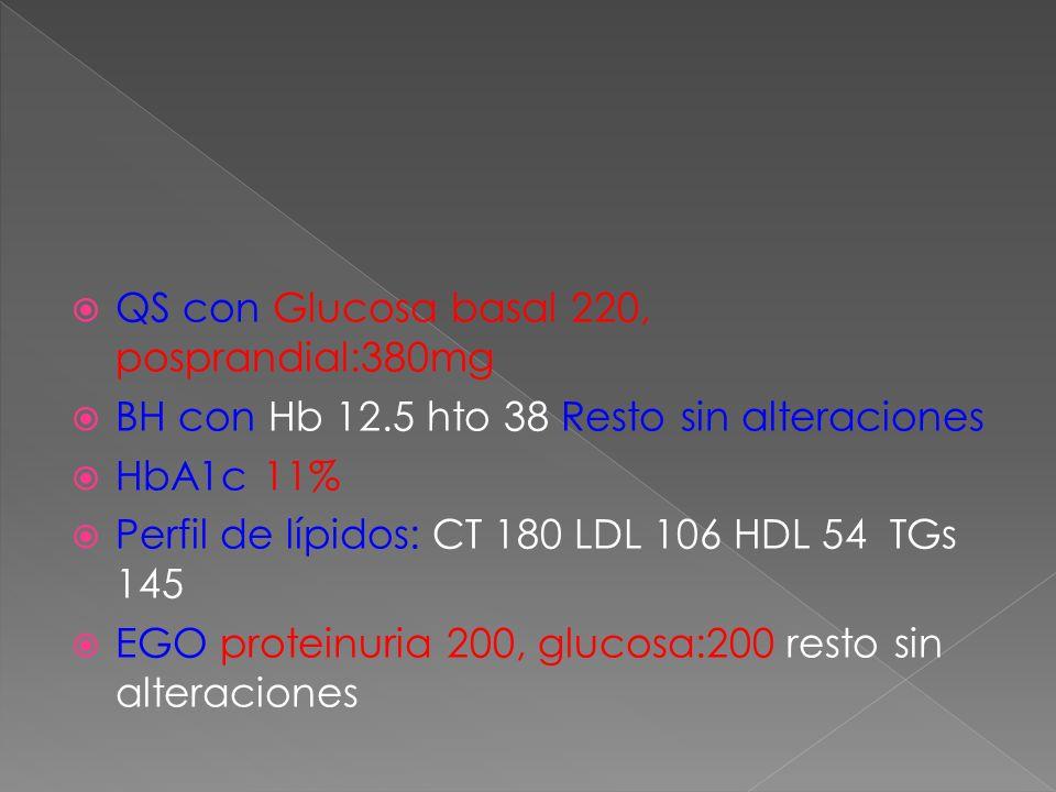QS con Glucosa basal 220, posprandial:380mg