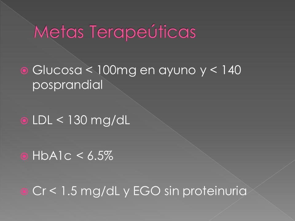 Metas Terapeúticas Glucosa < 100mg en ayuno y < 140 posprandial