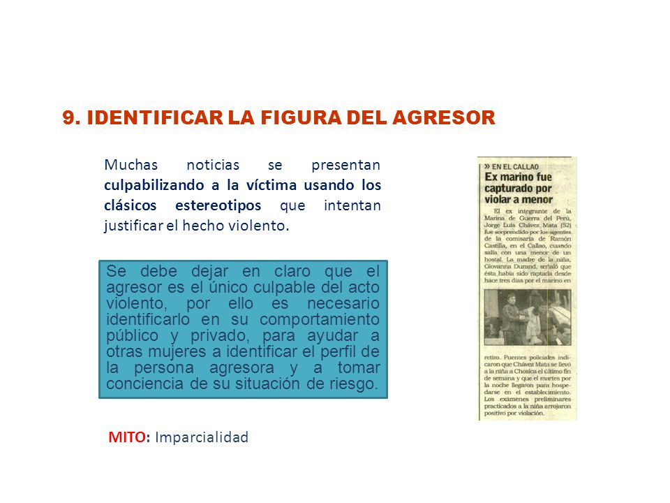 9. IDENTIFICAR LA FIGURA DEL AGRESOR