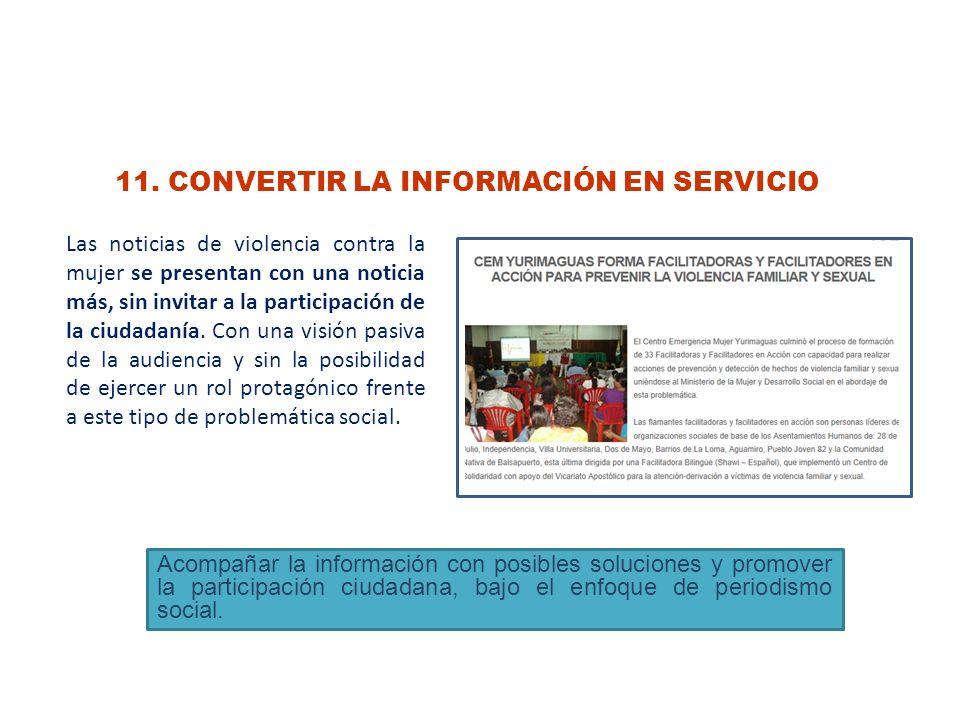 11. CONVERTIR LA INFORMACIÓN EN SERVICIO