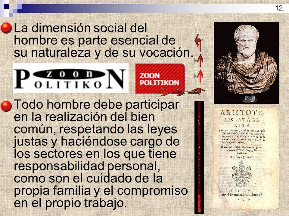 12. La dimensión social del hombre es parte esencial de su naturaleza y de su vocación.