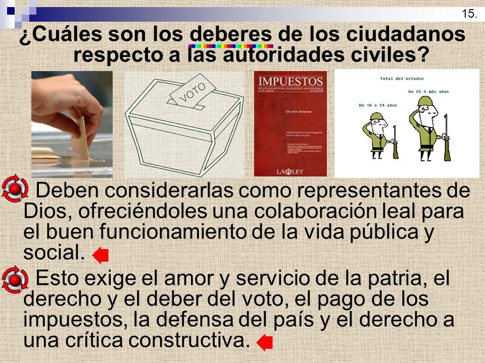 15. ¿Cuáles son los deberes de los ciudadanos respecto a las autoridades civiles