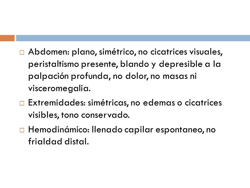 Abdomen: plano, simétrico, no cicatrices visuales, peristaltismo presente, blando y depresible a la palpación profunda, no dolor, no masas ni visceromegalia.