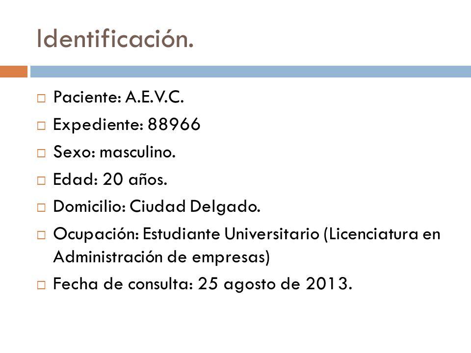 Identificación. Paciente: A.E.V.C. Expediente: 88966 Sexo: masculino.