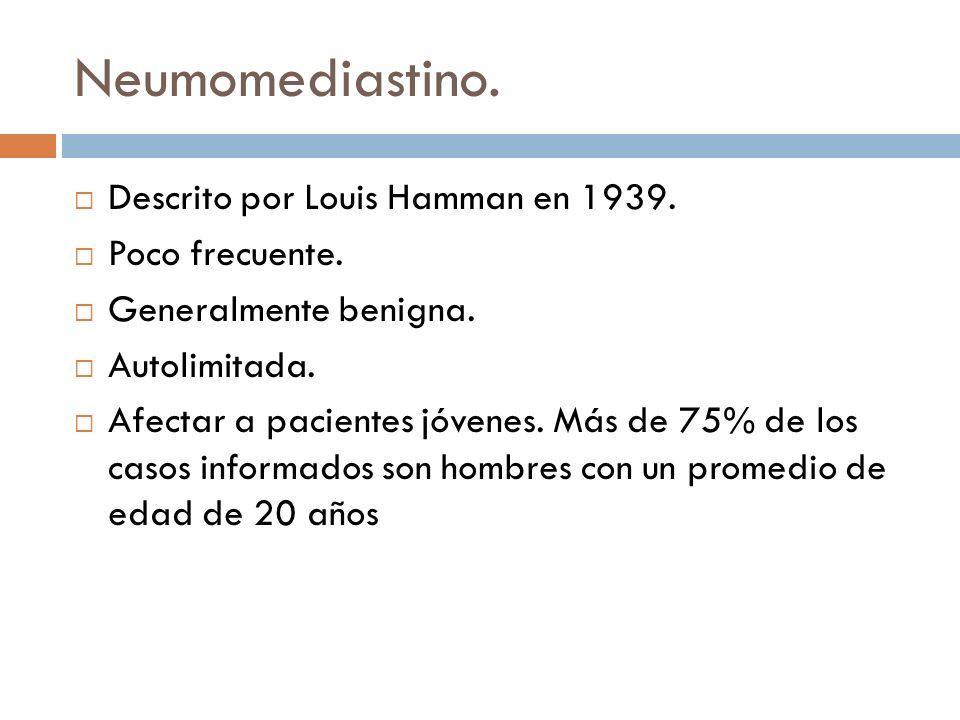 Neumomediastino. Descrito por Louis Hamman en 1939. Poco frecuente.