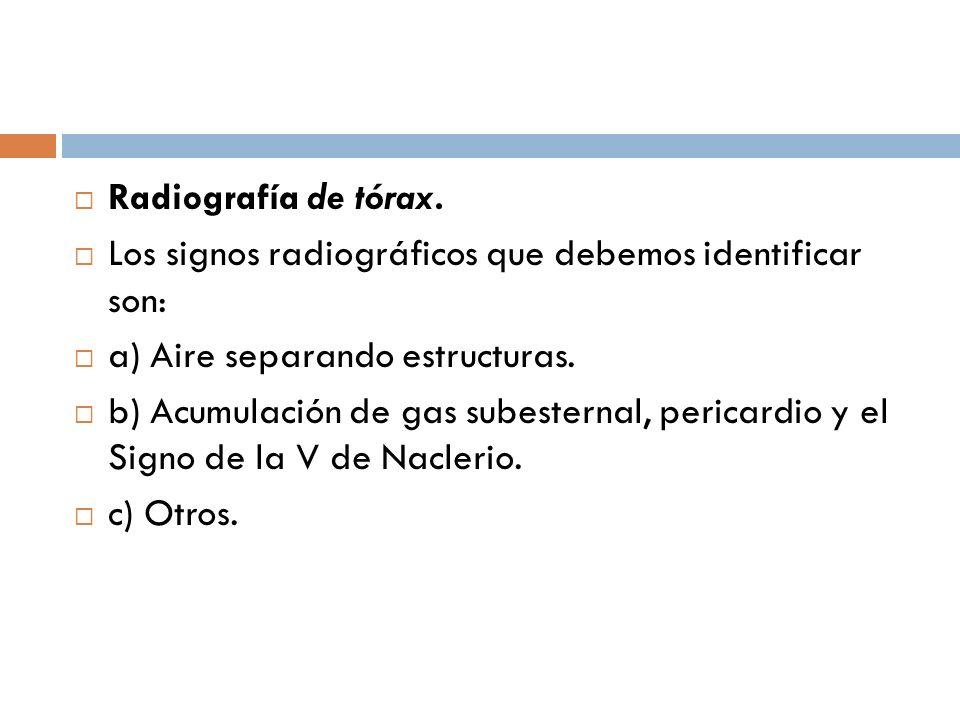 Radiografía de tórax. Los signos radiográficos que debemos identificar son: a) Aire separando estructuras.