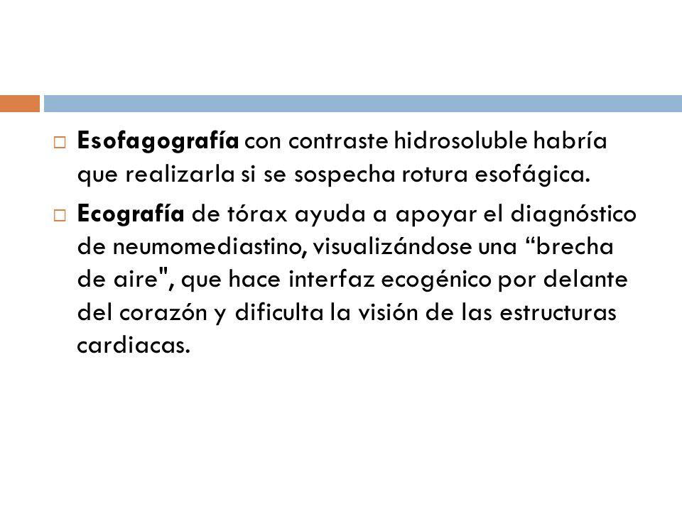 Esofagografía con contraste hidrosoluble habría que realizarla si se sospecha rotura esofágica.