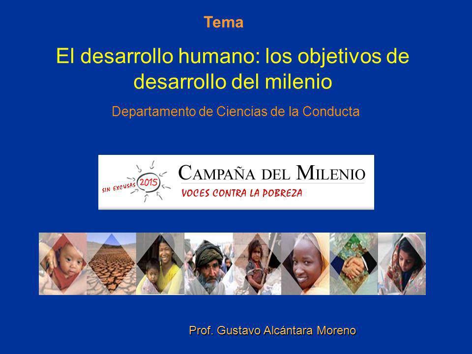 Tema El desarrollo humano: los objetivos de desarrollo del milenio Departamento de Ciencias de la Conducta.