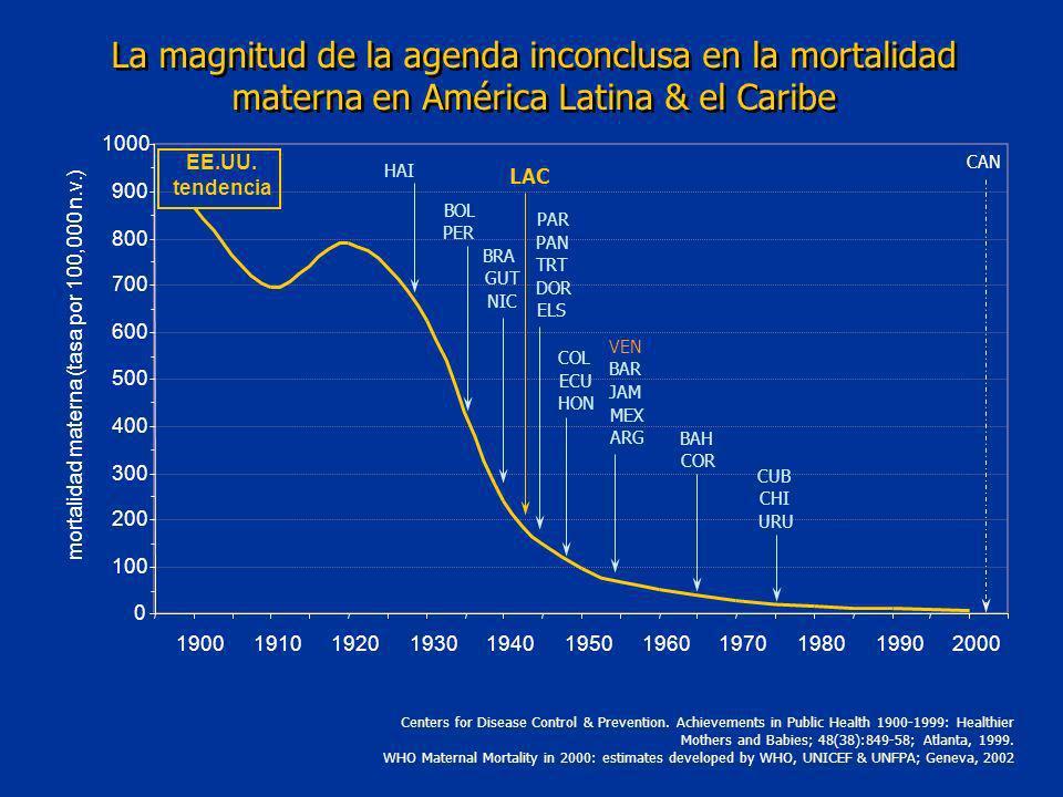 mortalidad materna (tasa por 100,000 n.v.)
