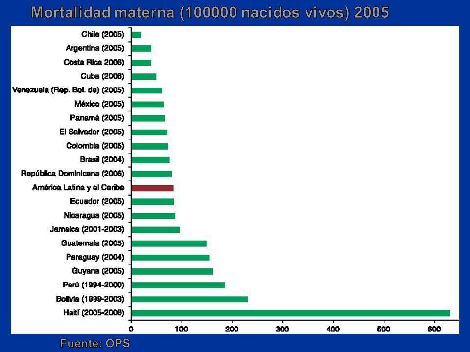 Mortalidad materna (100000 nacidos vivos) 2005