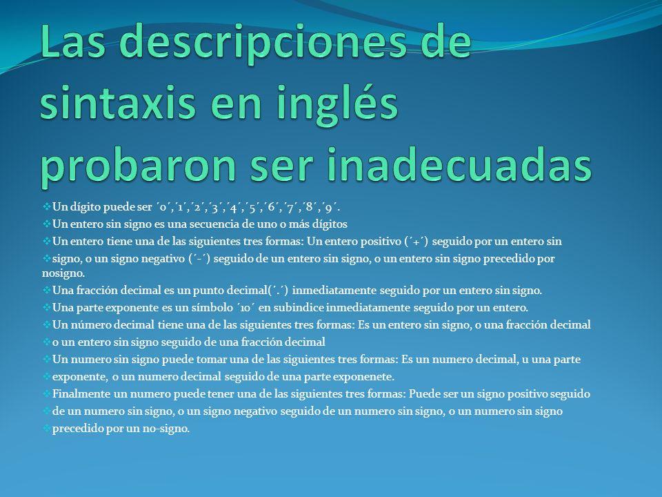 Las descripciones de sintaxis en inglés probaron ser inadecuadas