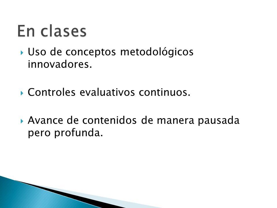 En clases Uso de conceptos metodológicos innovadores.