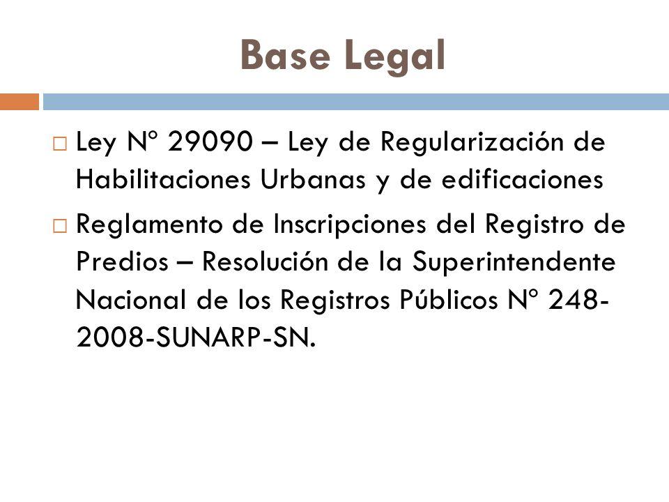 Base Legal Ley Nº 29090 – Ley de Regularización de Habilitaciones Urbanas y de edificaciones.