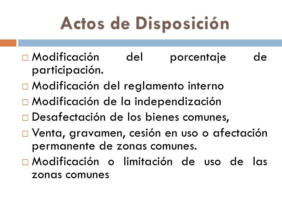 Actos de Disposición Modificación del porcentaje de participación.