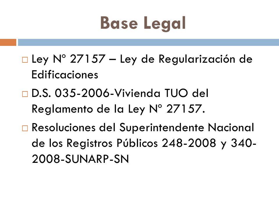 Base Legal Ley Nº 27157 – Ley de Regularización de Edificaciones