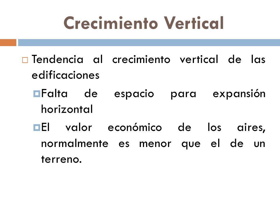 Crecimiento Vertical Tendencia al crecimiento vertical de las edificaciones. Falta de espacio para expansión horizontal.
