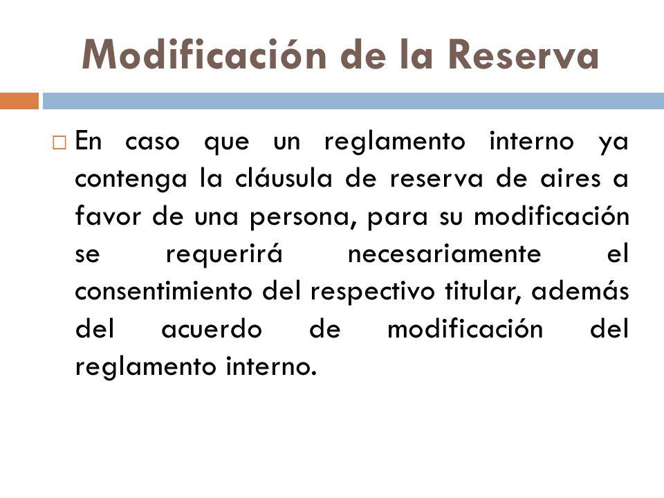 Modificación de la Reserva