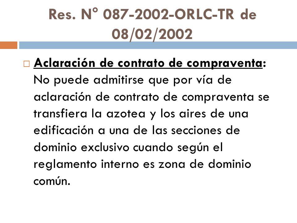 Res. N° 087-2002-ORLC-TR de 08/02/2002