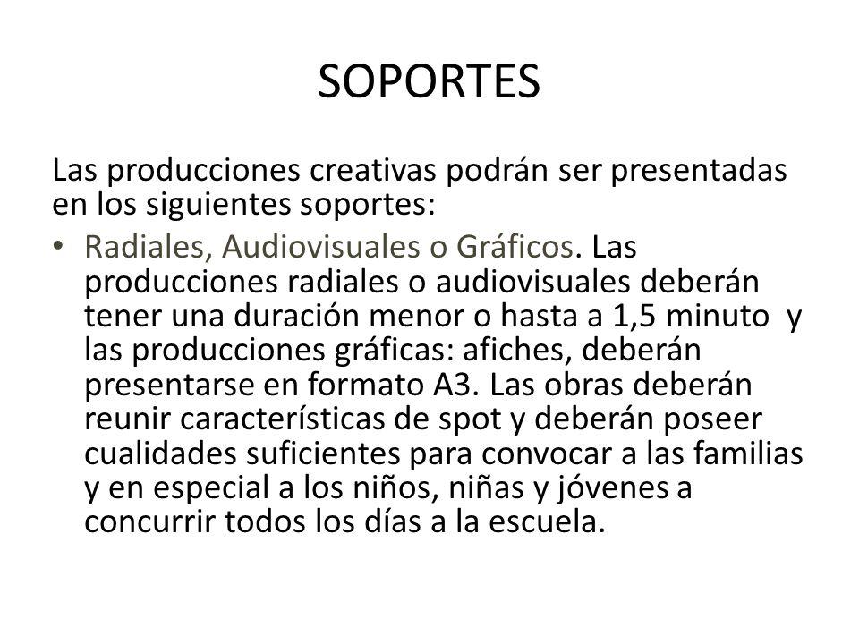 SOPORTES Las producciones creativas podrán ser presentadas en los siguientes soportes:
