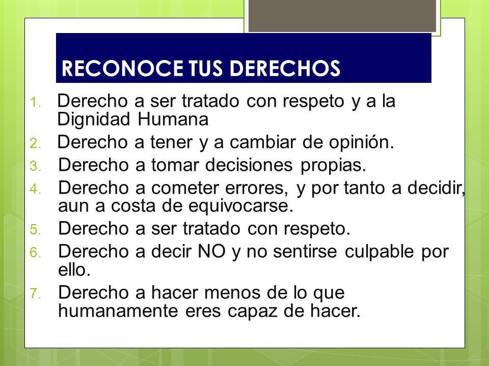 RECONOCE TUS DERECHOS Derecho a ser tratado con respeto y a la Dignidad Humana. Derecho a tener y a cambiar de opinión.