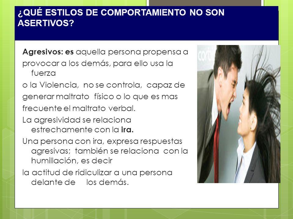 ¿QUÉ ESTILOS DE COMPORTAMIENTO NO SON ASERTIVOS